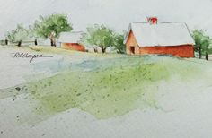 Old Farm Original Watercolor Painting by RoseAnnHayes on Etsy