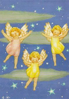Trio of Angels - Rudolf Koivu 5 Vintage Christmas Cards, Christmas Images, Christmas Angels, Christmas Art, Vintage Cards, Christmas Illustration, Children's Book Illustration, Cute Photography, Angel Cards