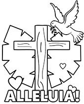 Alleluia Cross And Dove Of Peace In 2020 Easter Coloring Pages