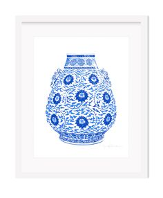 Framed Blue and White Chinese Lotus Vase Giclee Art Print – The Pink Pagoda