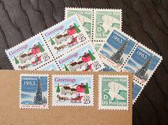 Christmas .. Winter Wonderland .. UNused Vintage Postage Stamps  .. post 5 letters