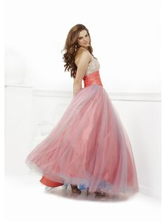 Affordable Ball Gown V-neck Floor Length / Long Tulle Beaded Prom / Evening / Formal / Party / Quinceanera Dresses 2401028