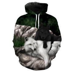 Wolf Hoodie 3D Full Printing //Price: $45.95 & FREE Shipping //     #shinobi #anime #manga #konoha #ninja #hokage Wolf Hoodie, Black Hoodie, Funny Wolf, Mens Sweatshirts, Hoodies, Anime Store, Anime Wolf, Tshirts Online, Hoodie