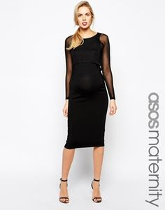 ASOS Maternity Knitted Midi Dress With Sheer Overlay