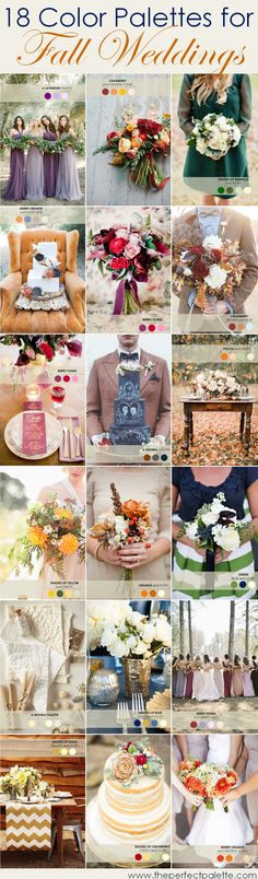 18 fall color palettes for weddings http://www.theperfectpalette.com/2014/09/18-fall-wedding-color-palettes-ultimate.html