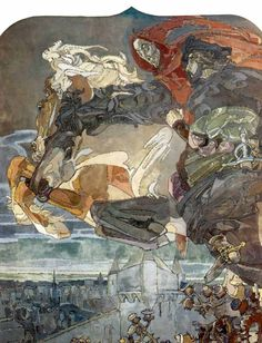 Flight of Faust and Mephistopheles/Vrubel M.A. (1856-1910)