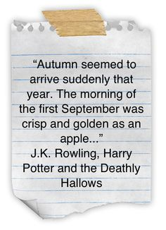 Autumn seemed to arrive suddenly that year. -J.K. Rowling