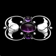Georg Jensen Double Tulip Brooch with Amethysts