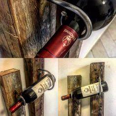 """Dopo avere realizzato il porta bottiglie """"Franciacorta"""" ho avuto a disposizione altre travi in legno antico di dimensioni più piccole, da qui l'ispirazione per creare un secondo portabottiglie molto simile ma allo stesso tempo molto diverso dal primo."""