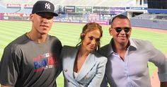 Three Bronx Bombers! Jennifer Lopez and Alex Rodriguez Visit Aaron Judge at Yankee Stadium