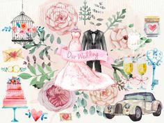Watercolour Wedding Clipart Set/Wedding by BerryKissPrints on Etsy
