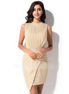 [US$ 116.99] Sheath/Column Scoop Neck Short/Mini Chiffon Lace Cocktail Dress With Ruffle (022052654)