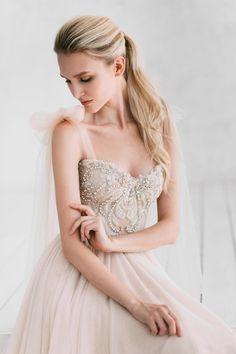 A-line powder wedding dress Armel by Ange Etoiles Wedding image 1 Ombre Wedding Dress, Pink Wedding Dresses, Bridal Dresses, Wedding Gowns, Wedding Blog, Diy Wedding, Reception Dresses, Wedding Ideas, Wedding Things