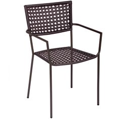 BFM Seating Chianti Steel Outdoor Restaurant Arm Chair - These durable outdoor restaurant chairs are constructed with a anthracite finished steel frame and graphite color synthetic wicker back and seat. Offered at a very competitive price, these traditional restaurant chairs also feature a stackable design and a simple, modern look to meet your facility's commercial restaurant patio furniture needs.  [DV600A]