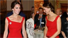 In occasione di una cerimonia a Victoria, British Columbia, Kate Middleton abbandona i colori pastello per un abito rosso che lascia senza fiato fotografi e