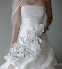 Love the Orchid bouquet. White is classic, but you could do hot pink in the same flower..