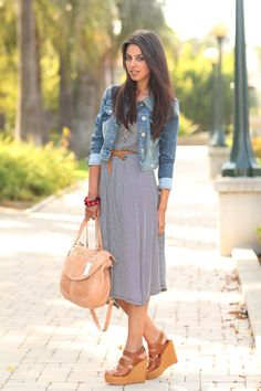 wedges with dress and blazer