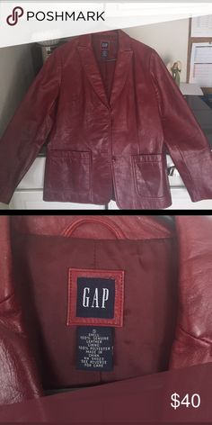 Red gap leather coat Flawless red leather coat GAP Jackets & Coats Blazers