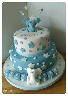 White and Blue boys elephant cake Cake Cookies, Cupcakes, Christening Cake Boy, Elephant Cakes, Cakes For Boys, Desserts, Blue, Inspiration, Food