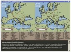 A map of Europe before and after The Great War. Also from the results of the Treaty of Versailles. History Class, Teaching History, World History, European History, American History, Transformers, Treaty Of Versailles, 4th Grade Social Studies, Geography Lessons