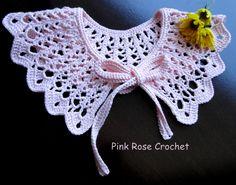 Crochet and arts: Gentle collar Crochet Collar Pattern, Col Crochet, Crochet Lace Collar, Crochet Baby Bonnet, Filet Crochet Charts, Thread Crochet, Crochet Motif, Crochet Stitches, Crochet Patterns