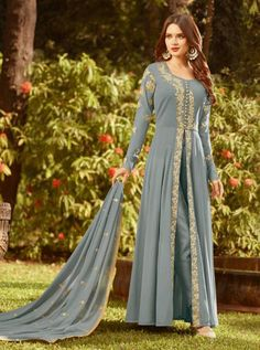 RAAZI D.NO.-20019 RATE: 1890 - RAMA RAAZI VOL 7  20017 TO 20024 SERIES  WHOLESALE SOFT GEORGETTE DESIGNER HEAVY EMBROIDERY PARTY WEAR SUITS COLLECTION AT WHOLESALE RATE AT DSTYLE ICON FASHION CONTACT : +917698955723 - DStyle Icon Fashion