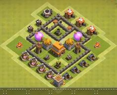 Best Town Hall 4 War, Farming and Hybrid Bases Anti Giants These base designs can defend giants archer and barbarians with ease. Clash Of Clans Levels, Clash Of Clans Game, Clash Royale, Town Hall 4, Photo Editing, Geek Stuff, Layout, Anime, Design