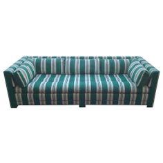 John Widdicomb Sofa Upholstered in Stripped Sunbrella Fabric Vintage Sofa, Vintage Furniture, Cool Furniture, Modern Furniture, Modern Sofa, Modern Chairs, Sofa Shop, White Strips, Sunbrella Fabric