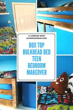 A DIY bulkhead box room bed and bedroom makeover post. Ideal bedroom decor idea for teenagers. Check out our home makeover post and Si's clever DIY. Box Room Bedroom Ideas For Kids, Box Room Beds, Bulkhead Bedroom, Teen Bedroom Makeover, Matching Bedding And Curtains, Teenage Room, Teen Bedding, Bed Duvet Covers, Diy Bed