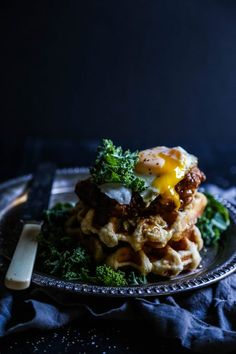FRIED CHICKEN AND WAFFLES WITH APPLE BUTTER & KALE SLAW