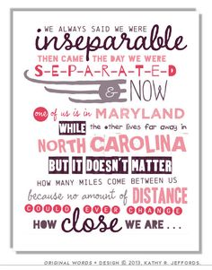 Long Distance Friendship Art. Besties Typographic Print Set. Personalized I Miss You Gift. Long Distance Best Friend, BFFs, Sisters Quote
