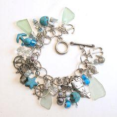 Light Blue Sea Glass Charm Bracelet Has 50 by MermaidTearsSeaglass