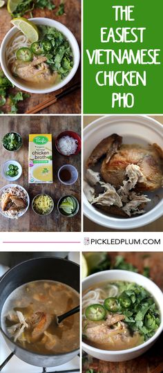 Easy Chicken Pho Food and Drinks - Easy Vietnamese Chicken Pho Noodle Soup recipe made with rotisserie chicken! Only 20 minutes to make from start to finish! Asian Recipes, Healthy Recipes, Simple Recipes, Plum Recipes, Asian Desserts, Fast Recipes, Drink Recipes, Healthy Food, Pho Noodle Soup