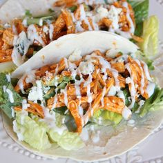 Low Carb Buffalo Chicken Soft Tacos by Skinny Girl Standard