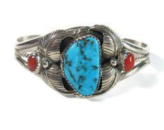Vintage Navajo Carved Bird Track Turquoise Coral Cuff Bracelet Sterling Randall Joe Tom