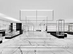 Saint Laurent Alexandra House Store: Saint Laurent's first concept store in Hong Kong opened its doors last week at Alexandra House, Retail Interior Design, Retail Store Design, Boutique Interior, Boutique Design, Retail Shop, Saint Laurent Paris, Saint Laurent Store, Carlo Scarpa, Store Concept