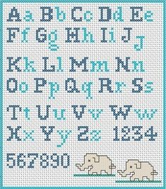 Have you decided to cross-stitch the school apron for your child? Did you find a cross-stitch alphabet pattern? If you are looking for an embroidery pattern with simple cross stitch letters, I suggest you to register now at www. Alphabet Au Crochet, Cross Stitch Alphabet Patterns, Cross Stitch Letters, Cross Stitch Designs, Stitch Patterns, Alphabet Charts, Alphabet Letters, Cross Stitching, Cross Stitch Embroidery