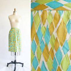 Vintage 60s Diamond Print Skirt / 1960s by GingerRootVintage, $34.00