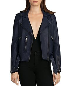 37270565d A luxe leather style decked out with gleaming hardware, this Bagatelle  jacket flaunts all the classic biker staples, from edgy zips and epaulets  to a ...