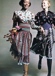 This is a fashion spread from the October 1970 issue of Seventeen showing the peasant look. The peasant look was influenced by European folk styles. It featured floaty dresses, layers of metal jewelry, and scarves with oriental patterns.