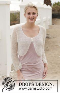 """Knitted DROPS bolero in garter st in """"Kid-Silk"""". Size: S - XXXL. ~ DROPS Design"""