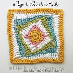 Life Made Creations: crochet with pattern here:  http://www.ravelry.com/patterns/library/on-the-huh-crochet-square