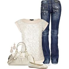 I love everything here except the messy looking jeans. Winter is a great time for wear sparkles
