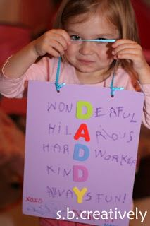 I loved doing these kinds of things when I was little :) Cute descriptive Father's Day craft to do with the kids!