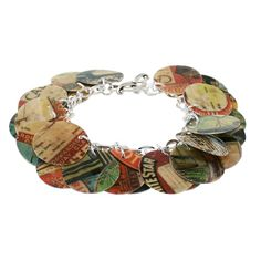 Resin scrapbook paper and attach to chain bracelet with jump rings
