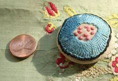1 antique thread passementerie button blue pink by duchesstrading