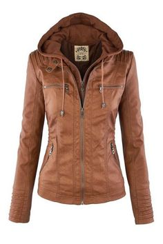 Solid Color PU Leather Convertible Collar Jacket LIGHT BROWN: Jackets & Coats   ZAFUL