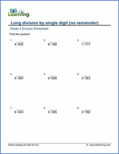 Grade 4 Long division Worksheet 3-digit by 1-digit numbers with no remainder