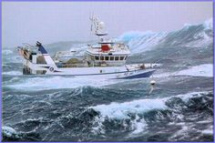 Impressive pictures of a fishing ship caught in the middle of a storm on the Grand Banks of Newfoundland. Impressive pictures of a fishing ship caught in the middle of a storm on the Grand Sport Fishing, Sea Fishing, Fishing Boats, Fishing Trips, Sea Storm, Rough Seas, Fishing Vessel, Stormy Sea, Sea Photo