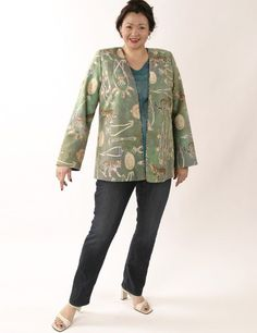19a0f117322f8 Plus Size Designer Jacket Coco Rainforest Beaded Baby Cheetah Gold Green  TealSHOP NOW  Unique jackets